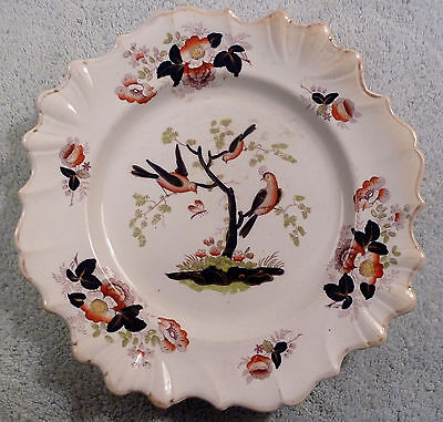 Antique Ridgway opaque granite china dinner plate, Asian theme with birds