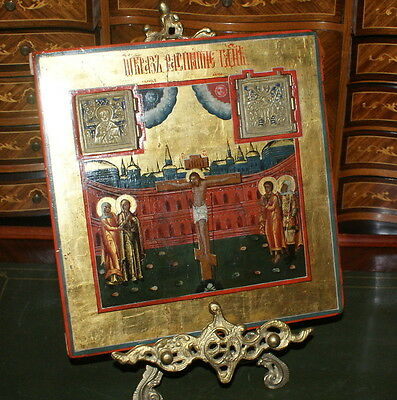 Antique Russian Icon The Staurotheke. The Crucifixion. Ural, 19 c
