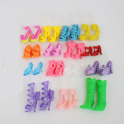 10 Pairs Fashion High Heel Shoes Boots For Barbie Princess Doll Clothes Dresses
