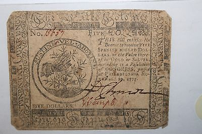 1775 Five Dollar Colonial Currency Hall and Sellers