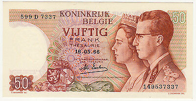 BELGIUM 50 francs 1966 XF plastic coated paper POLYMER P. unlisted sign. Esselen