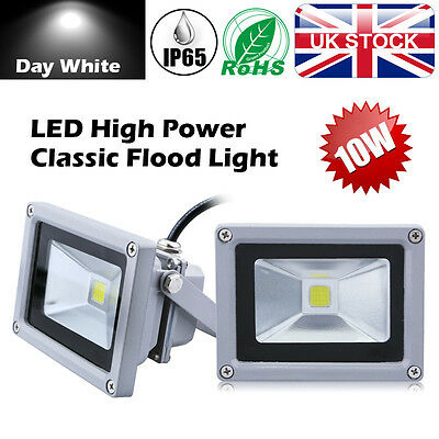 UK 10W Cool White LED Floodlight Outdoor Garden Yard Security Patio Lamp IP65