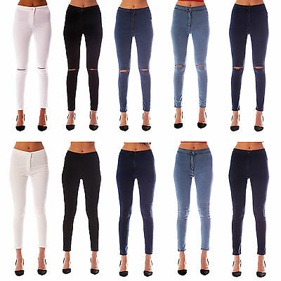New Womens Ladies High Waisted Stretchy Skinny Jeans Jeggings 6/8/10/12/14/16/18