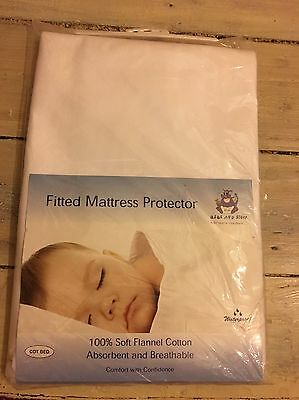 White Fitted Cotbed Mattress Protector Waterproof / Soft BNIB