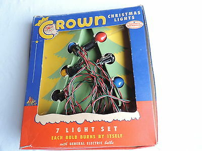 VINTAGE CROWN CHRISTMAS TREE LIGHTS 7 LIGHT SET WORKS w/ BOX Santa Claus