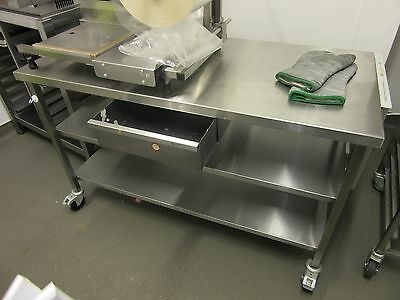 Mobile Stainless Steel Prep Table with Knif Holder