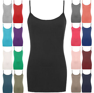 Womens Strappy Vest Top Cami Ladies Bodycon Dress Jersey Camisole Stretchy Tank