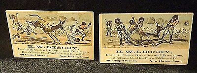 Black Americana Victorian Trade Cards   Two in Lot  No Advertising on Back