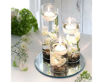 glass mirror decorative table feature white floating candle pebbles flower set