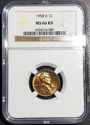 1958-D Lincoln Wheat Cent NGC MS66 RD Red 1C Mint State Copper Penny UNC Coin