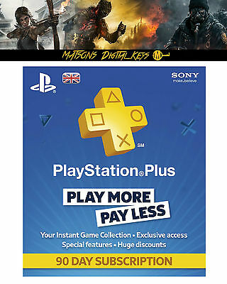 Playstation Plus 3 Month Membership Code - 90 Days Subscription - UK Only - PSN