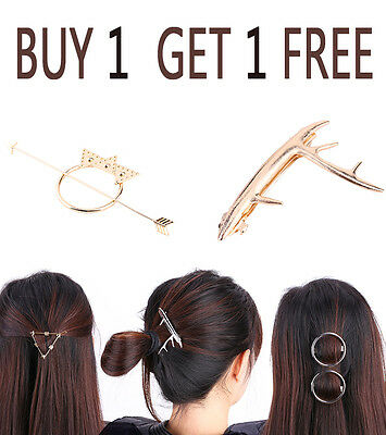 2pcs Fashion Women Arrow Triangle Round Circle Hairpin Clip Barrette Bobby Pins