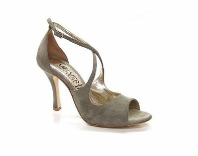 VOLVER 137 ARGENTINE TANGO DANCE SHOES, TAUPE / RED  SUEDE 7cm / 9cm HEEL