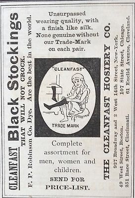 Antique 1889 Ad (1800-14)~Cleanfast Hosiery Co. Ny. Black Stockings