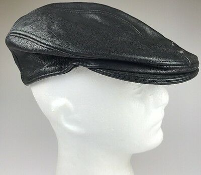 Harley Davidson Leather Black Newsboy Cap Hat Size L/XL Large Extra Made in USA