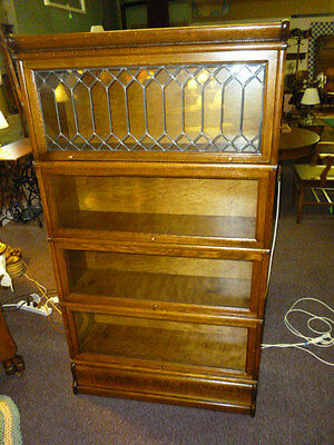 Antique Oak Bookcase Macey Barrister lawyer tiger refinished double diamond lead