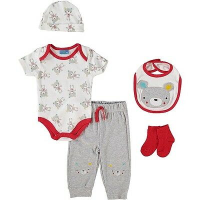 5 Piece Baby Boy Layette Clothing Gift Set Bear Design by Lily & Jack