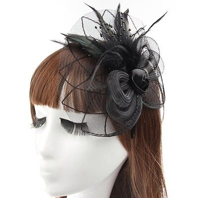 Ladies Fascinator Sinamay Hat Black Wedding Races Party Occassion - Brand New