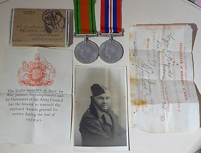 WW2 1939-45 defence and war medals with original paperwork box and more