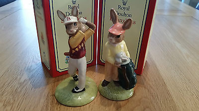 Royal Doulton Bunnykins x 2 mint/boxed Golfer and Caddie