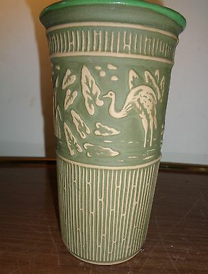 Mint Red Wing Pottery 2004 Convention Green Vase Collectors Society Piece