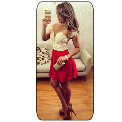 Women Lace Sleeveless Party Cocktail Evening red white Sexy Mini Dress small