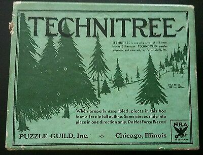 """Antique 3D Wooden Tree Wood Puzzle Guild, Inc. USA """"Technitree""""  RARE! NRA"""