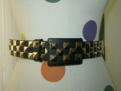 Hyde Collection Black Faux Leather Studded Belt With Buckle Size XS