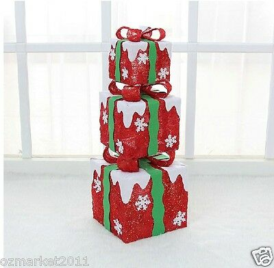Christmas Xmas Red Festival Hotel Decorations Ornaments Gift Bag 3 Pcs
