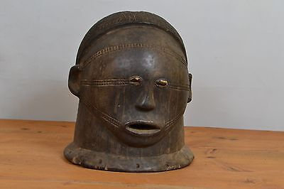 very oldTabwa Helmet Mask African from DR Congo