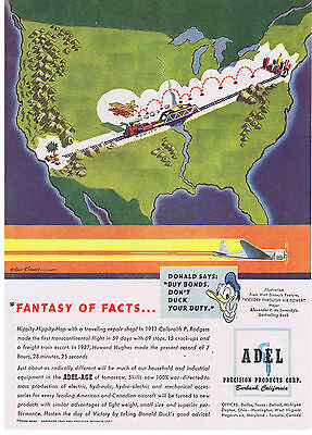 1943 Walt Disney Victory Through Air Power Adel Precision Products Print Ad