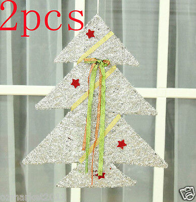 * Christmas Xmas Height 30CM Silver Decorations Ornaments Christmas Tree 2 PCS