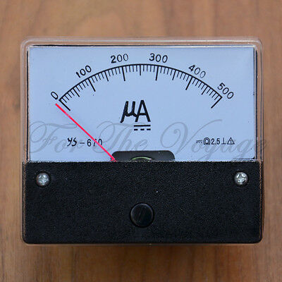 0- 500uA DC Ammeter Amp Current Panel Meter  Analogue NEW Micro Amps