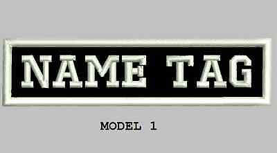 "Custom Embroidered 4"" x 1"" Name Patch Motorcycle Biker  Iron on/sew on Tag block"