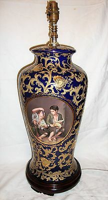 Stunning Baroque Rococo Style Cobalt Blue & Heavy Scrolling Gilt Lamp Base