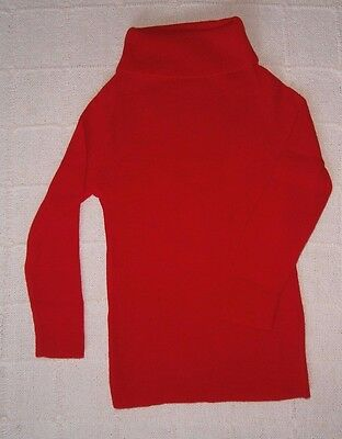 Vintage Polo-Neck Sweater - Age 7-8 years - 128 cm - Red - Acrylic - New