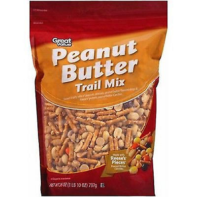 Great Value Peanut Butter Trail Mix, 26oz Made with Reese's Pieces 04/17