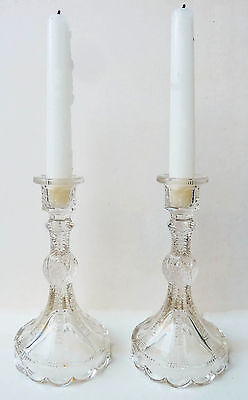 """Superb Pair of Antique Pressed Glass Candlesticks - 7 3/8"""" Tall, Mint"""