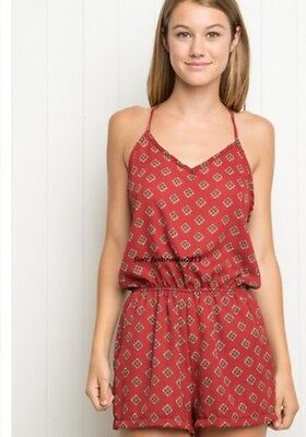 11bb9b8b903 SOLD OUT! BRANDY Melville red boho floral high neck racerback romper ...