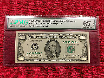 1985 Fr-2171-G $100 Frn Chicago Flawless Pmg 67 Epq....very Beautiful