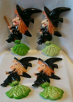 4 Vintage Halloween Witches On Brooms Cupcake Cake Topper Decoration Hong Kong