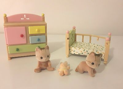 VTG 1985 Calico Critters Epoch Nursery School Baby Kittens Lot * See Condition*