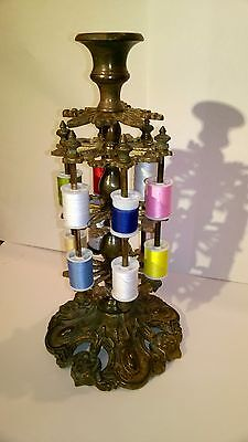 Antique Victorian Sewing  2 Tier 12 Spool Thread  brass Stand. WAKEFIELD.