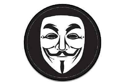 """Anonymous Mask embroidered Patch - Black/White Sew/Iron On 4"""""""