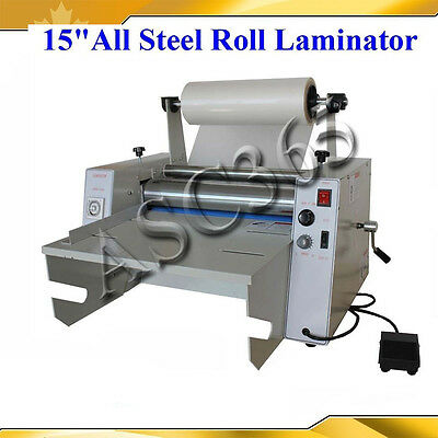 """15""""All Metal Roll Laminator Hot/Cold Laminating Double Side Temperature Control"""