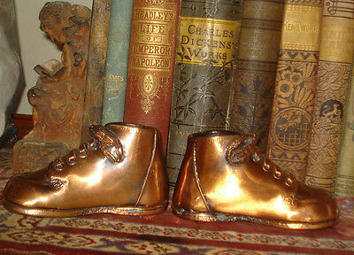 Vintage 2 BRONZE BABY SHOES Pair in Very Good Condition