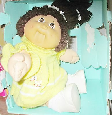 Cute IC3 Taiwan Cabbage Patch Doll! Brown Ponytail! Original Yellow Duckie Dress