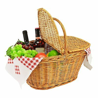 XXL Woven wicker Picnic basket with handle Lid Willow traditional storage hamper