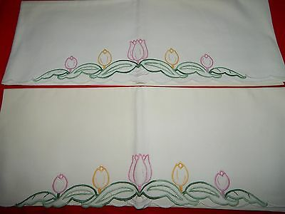 Pair Vintage Hand Embroidered Scallop Hem Edge Floral Tulip Pillowcases Gorgeous