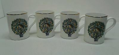 """NEW! -Avon- Set of 4 """"Partridge in a Pear Tree"""" Coffee Cup/Mug -Free Shipping!-"""